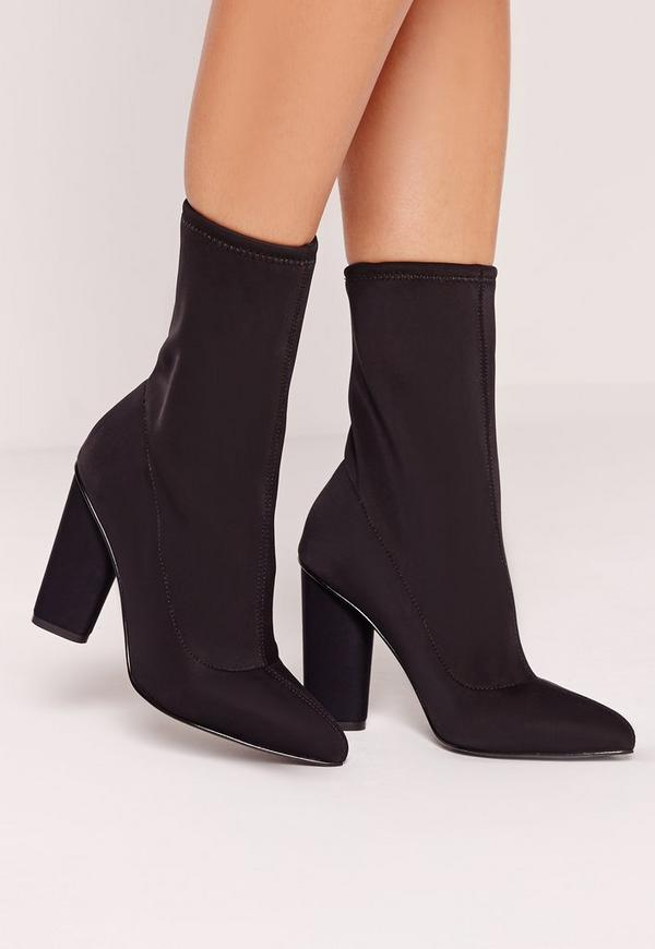 Pointed Toe Neoprene Heeled Ankle Boots Black