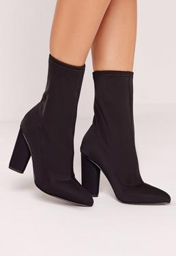 pointed toe neoprene heeled sock boots black