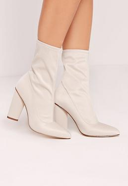 Pointed Toe Neoprene Heeled Ankle Boots Cream
