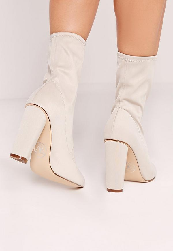 Pointed Toe Neoprene Heeled Ankle Boots Cream - Missguided
