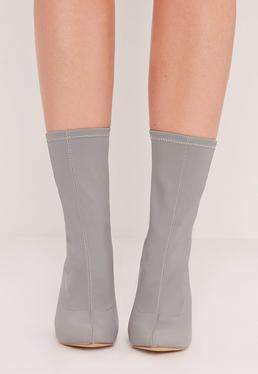 Pointed Toe Neoprene Heeled Ankle Boots Grey