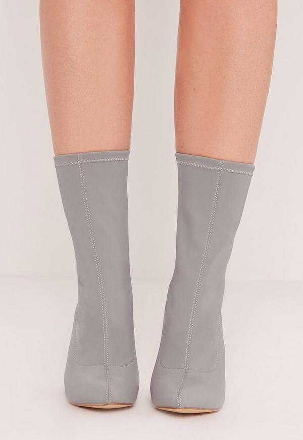 Pointed Toe Neoprene Heeled Ankle Boots Grey Missguided