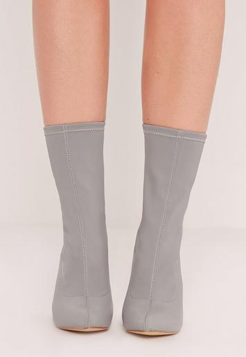 Pointed Toe Neoprene Heeled Sock Boots Grey Missguided