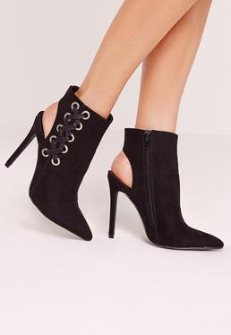 Black Faux Suede Cross Strap Heeled Ankle Boots