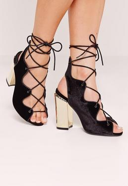 Wavy Lace Up Block Heel Sandals Black