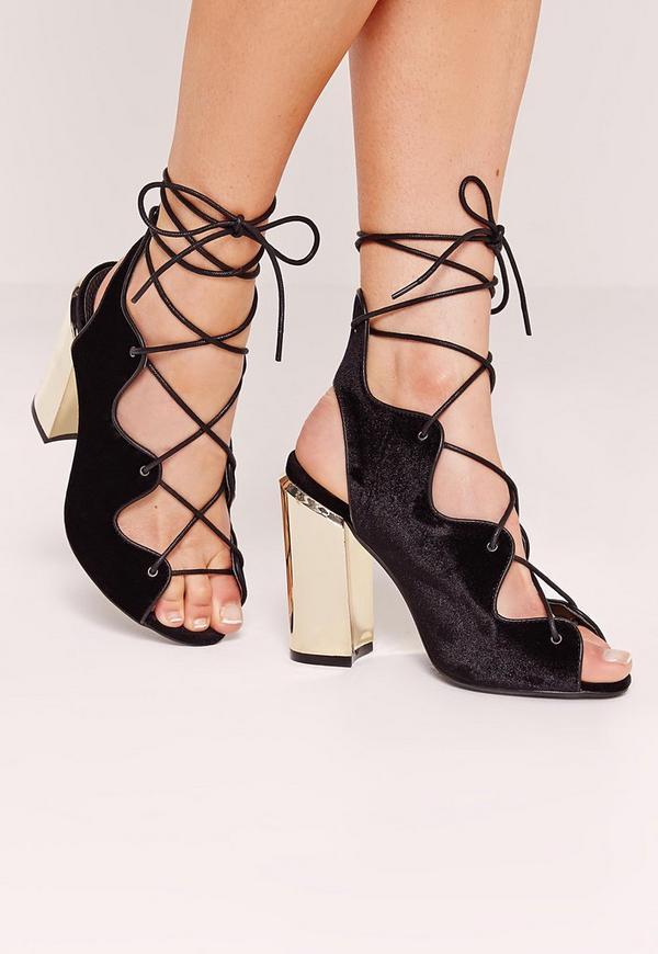 Wavy Lace Up Block Heel Sandals Black
