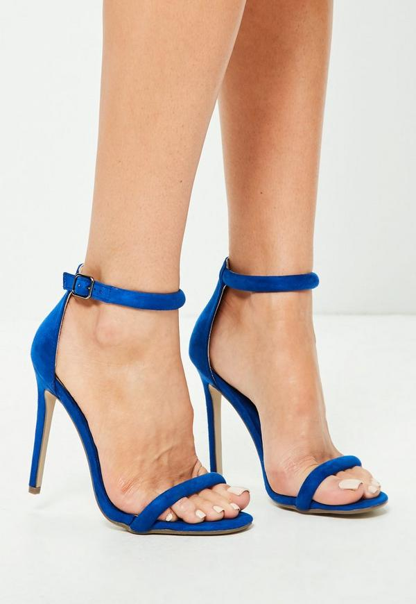 Blue Rounded Strap Barely There Sandals