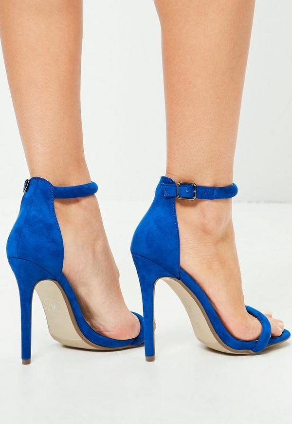 Blue Rounded Strap Barely There Sandals Missguided