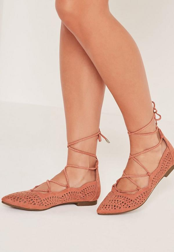 Laser Cut Flat Shoes Pink