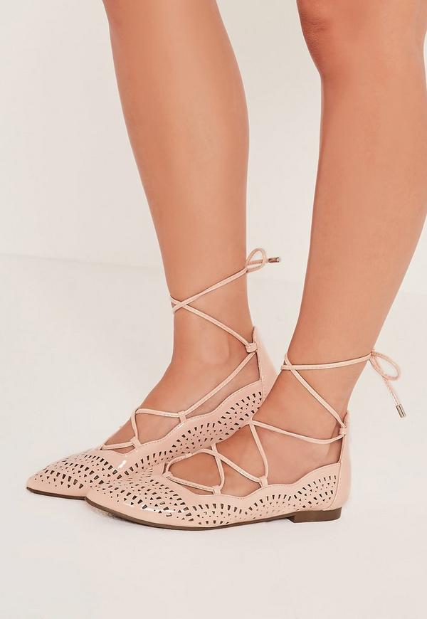 Laser Cut Patent Flat Shoes Nude