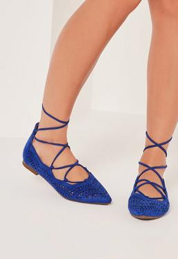 Laser Cut Flat Shoes Cobalt Blue