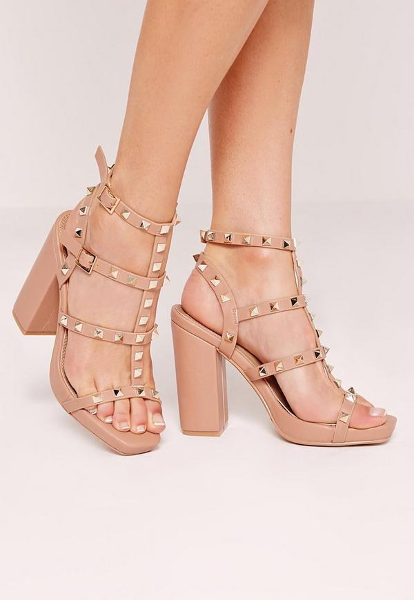 Studded Block Heeled Sandals Nude