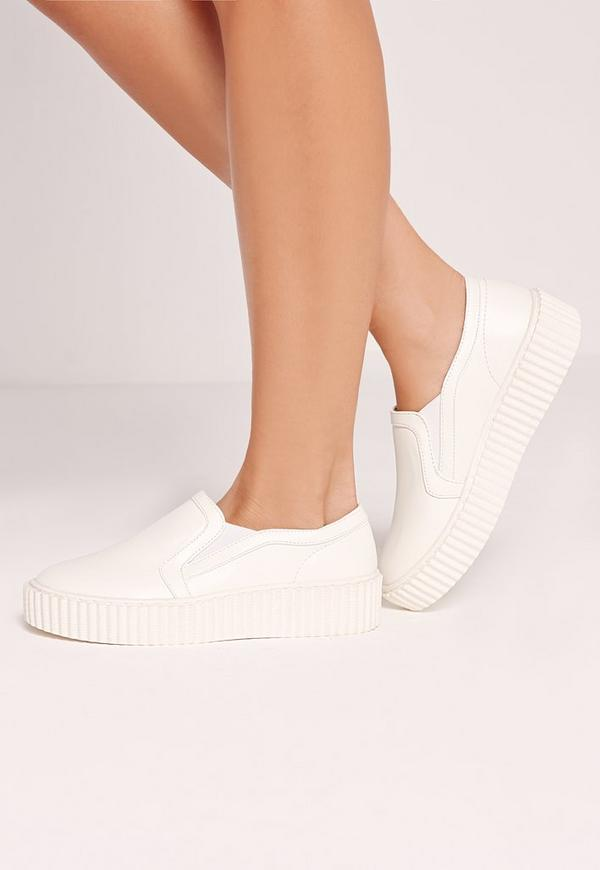 Flatform Skater Pumps White