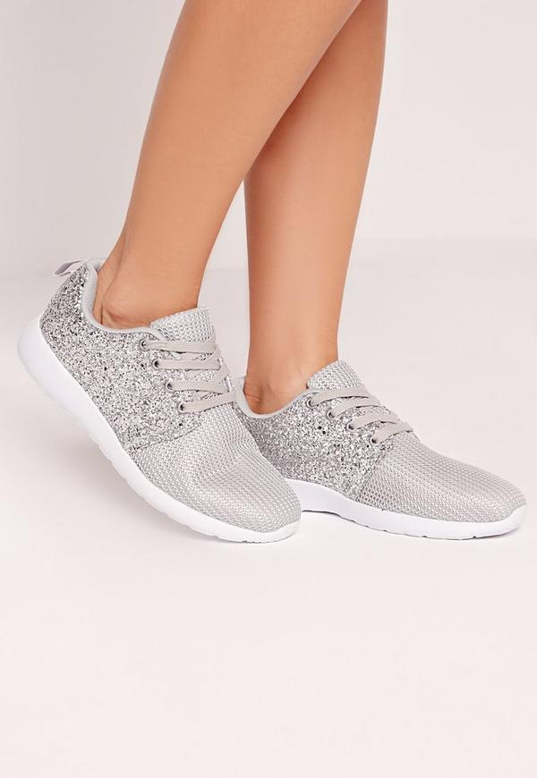 Glitter Mesh Trainer Grey