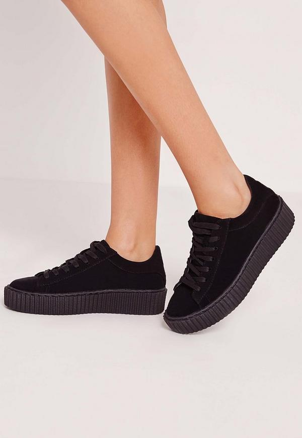 Lace Up Flatform Trainers All Black