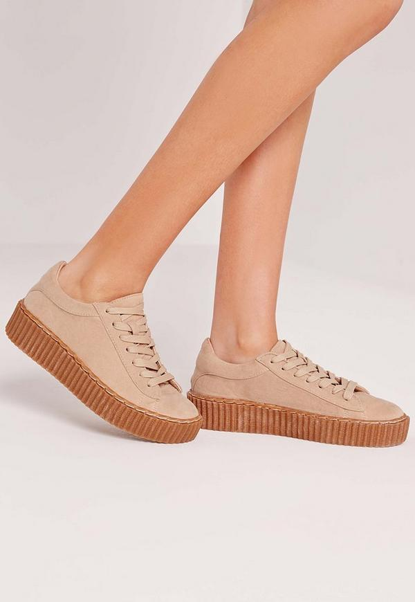 Lace Up Flatform Trainers Nude