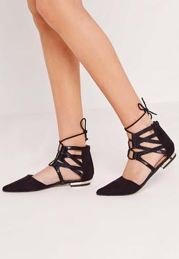 Ghille Lace Up Flat Shoe Black