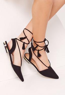 Sling Back Lace Up Flat Shoe Black
