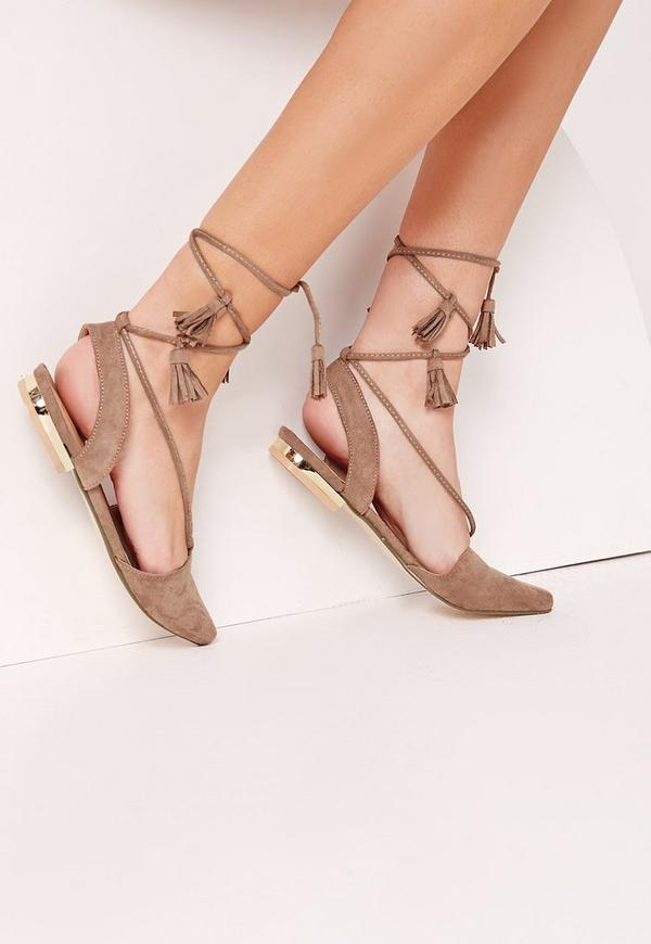 Sling Back Lace Up Flat Shoes Brown