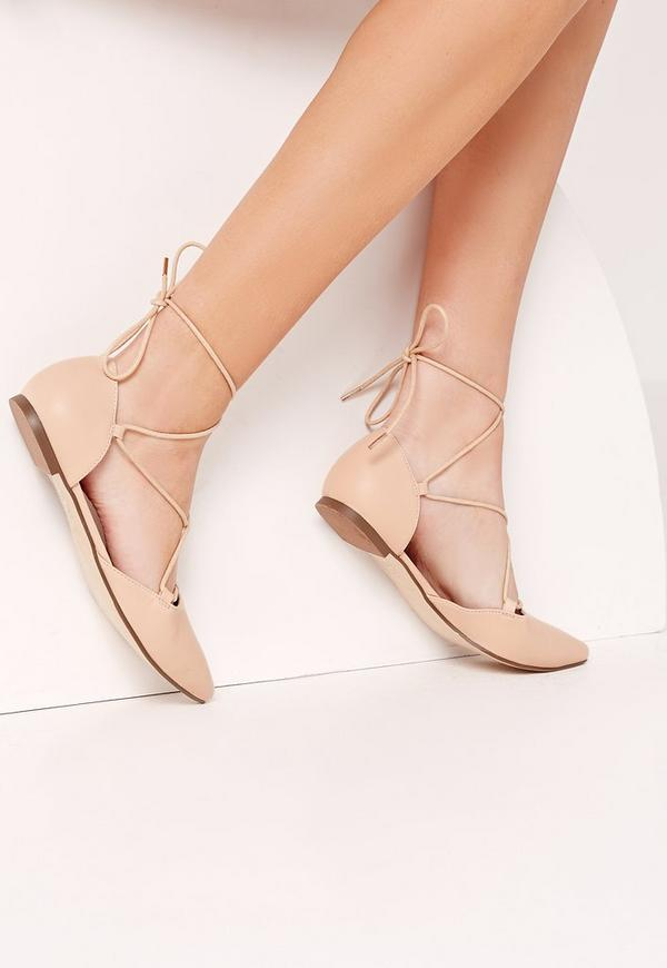 Lace Up Pointed Toe Flat Shoe Nude