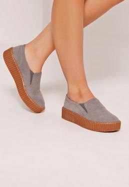 Creeper Flatform Skater Pumps Grey
