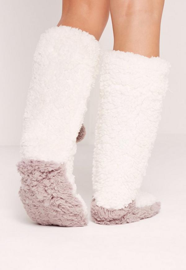 Pom Pom Slipper Sock White   Missguided