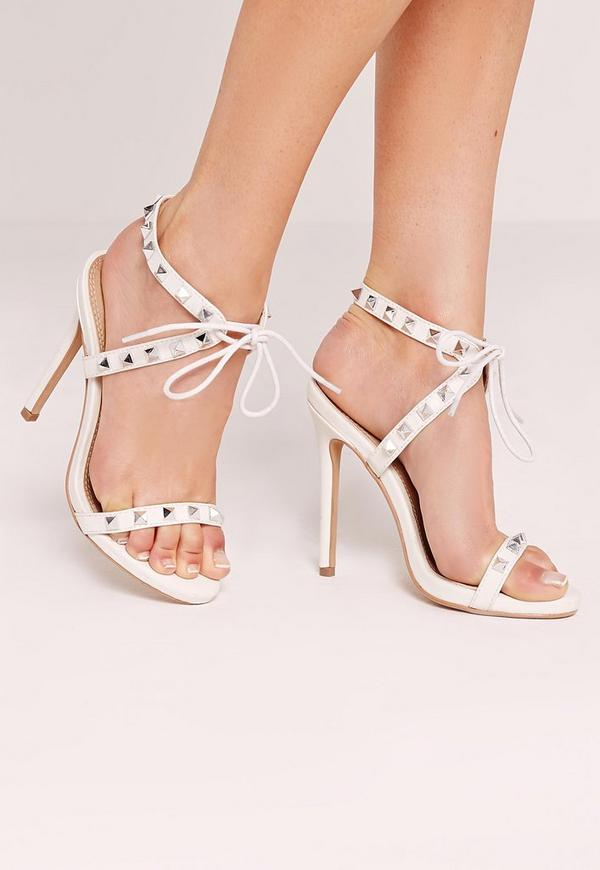 Studded Strap Barely There Sandal White