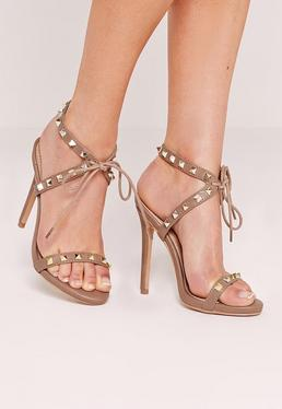 Studded Strap Barely There Sandal Nude