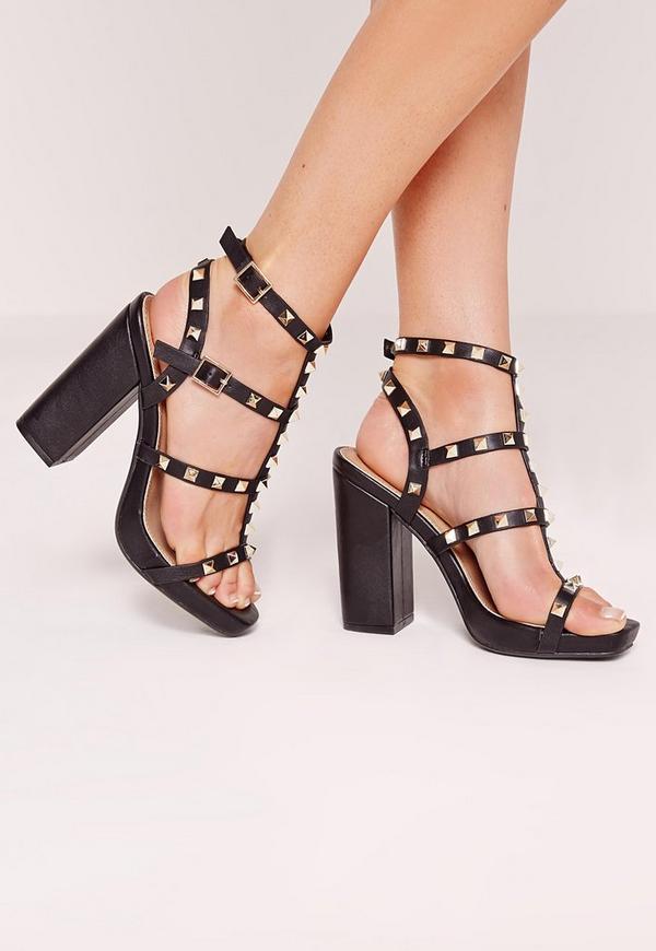 Studded block heel sandal black