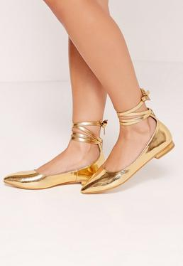 High Shine Lace Up Flat Shoes Gold