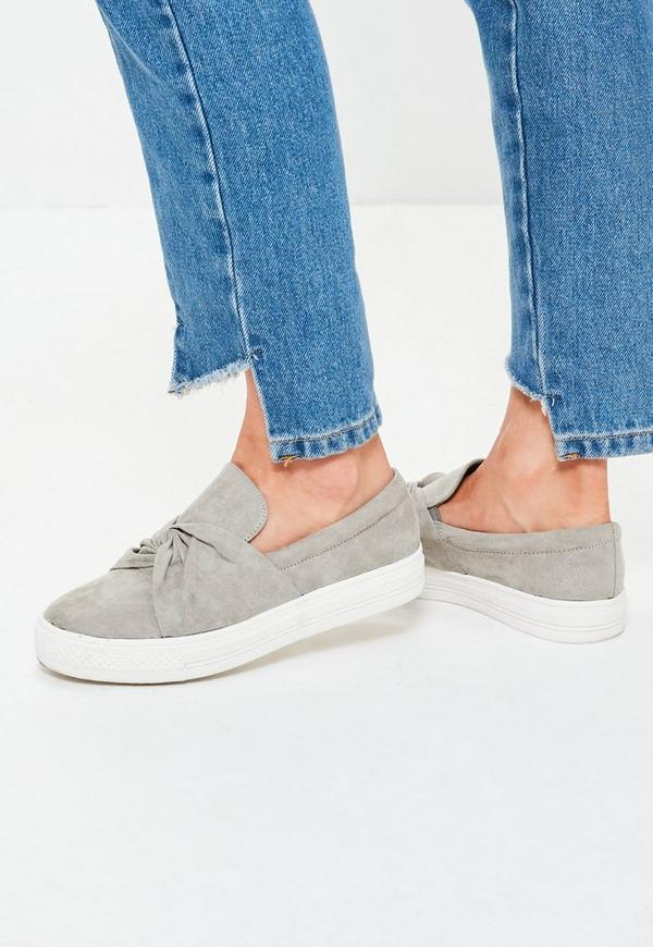 Twist Front Slip On Skater Flatforms Grey