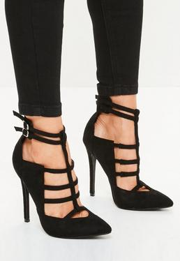 Black Strappy Geometric Court Shoes