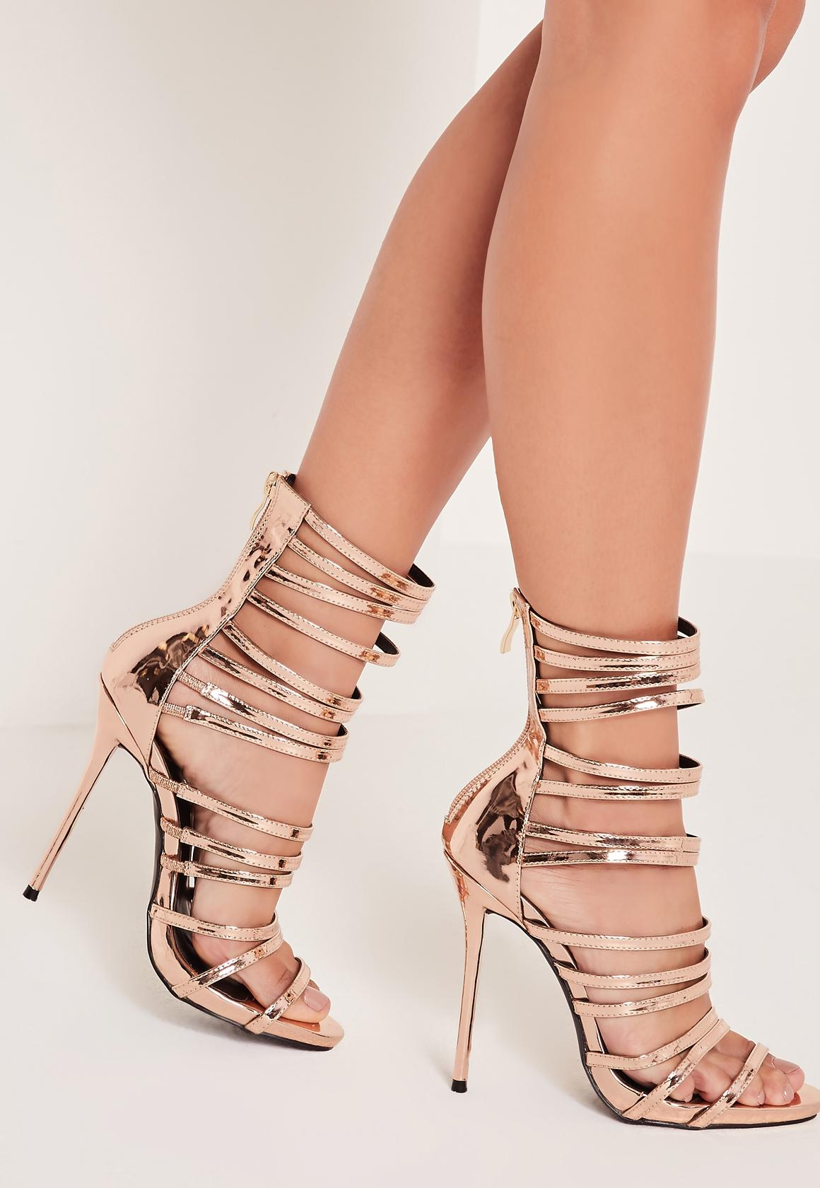 Ultra Strappy Gladiator Sandals Rose Gold   Missguided