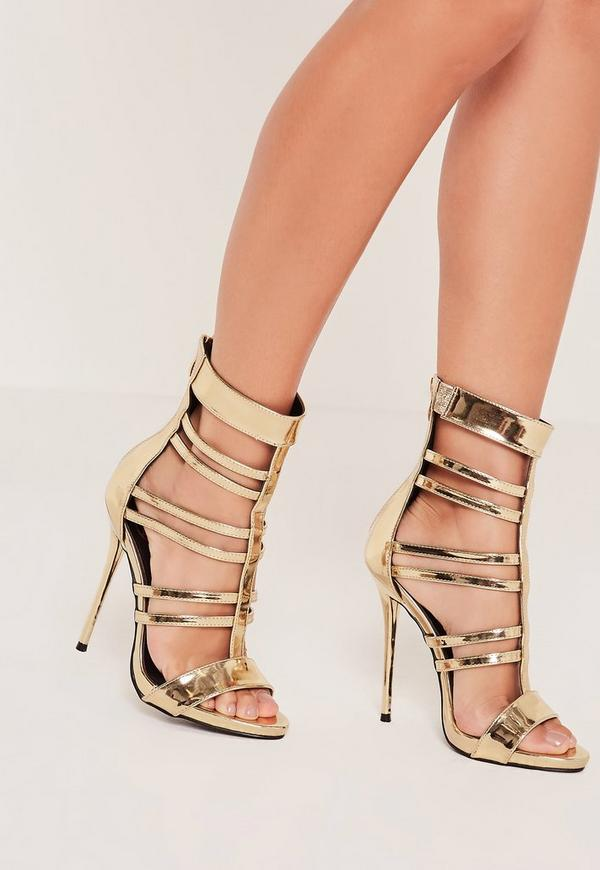 T Bar Strappy Gladiator Heels Gold