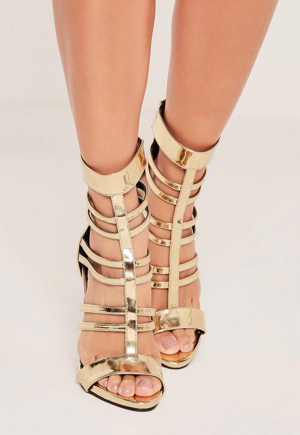 T Bar Strappy Gladiator Heels Gold - Missguided