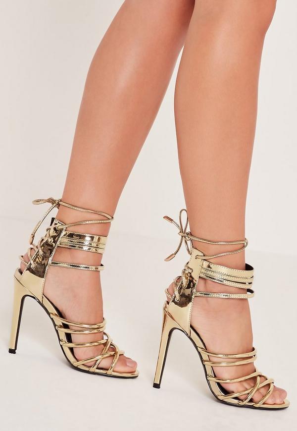 Metalic Heeled Strappy Gladiator Heels Gold