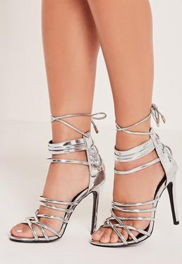 Metallic Heeled Strappy Gladiator Heels Silver