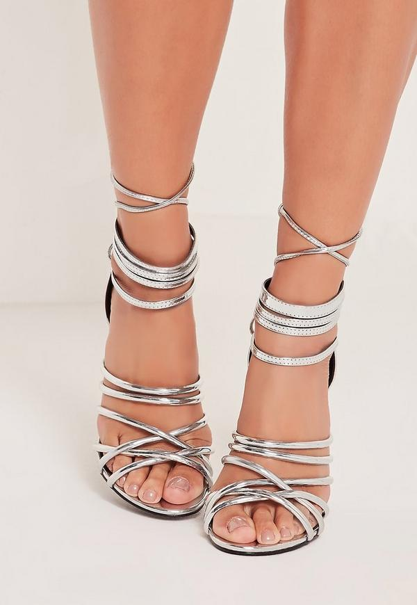 20e4617c451801 Metallic Heeled Strappy Gladiator Heels Silver