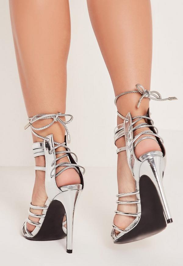 Metallic Heeled Strappy Gladiator Heels Silver | Missguided