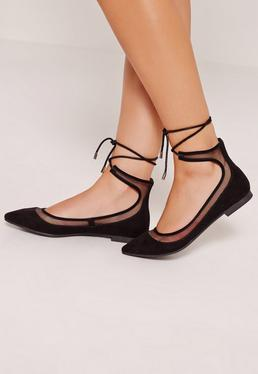 Mesh Lace Up Ballerina Shoes Black