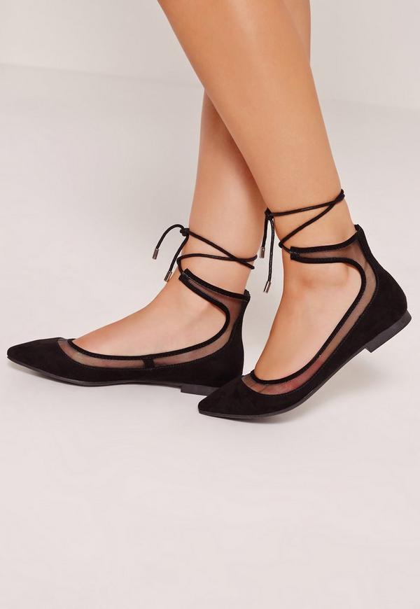 Mesh Lace Up Ballerina Shoes Black