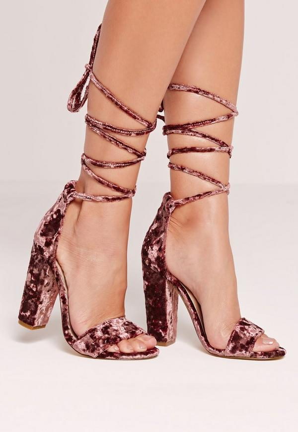 Crushed Velvet Wrap Around Block Heel Pink