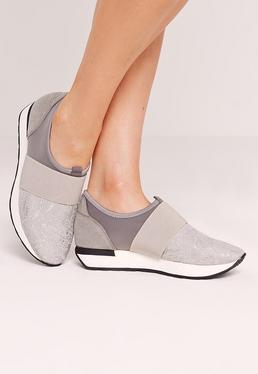 Grey Elastic Strap Sneakers