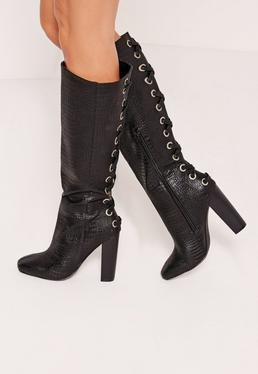 Croc Lace Up Knee High Boots Black