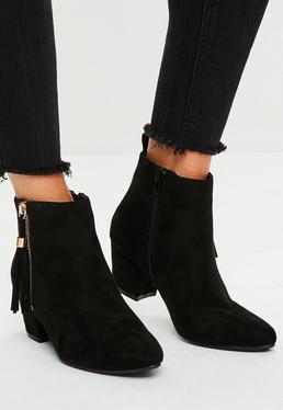 Black Tassel Detail Ankle Boots