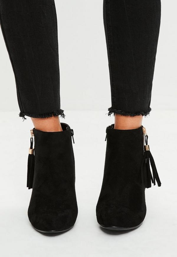 schwarze ankle boots mit fransendetail missguided. Black Bedroom Furniture Sets. Home Design Ideas
