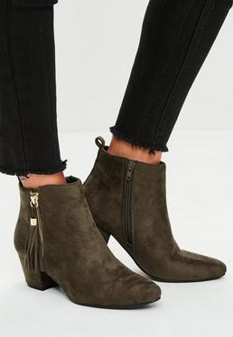 Khaki Ankle Boots mit Fransendetail