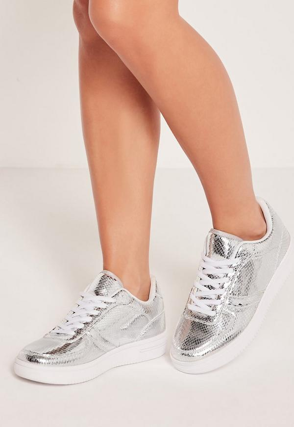 Metallic Lace Up Trainers Silver
