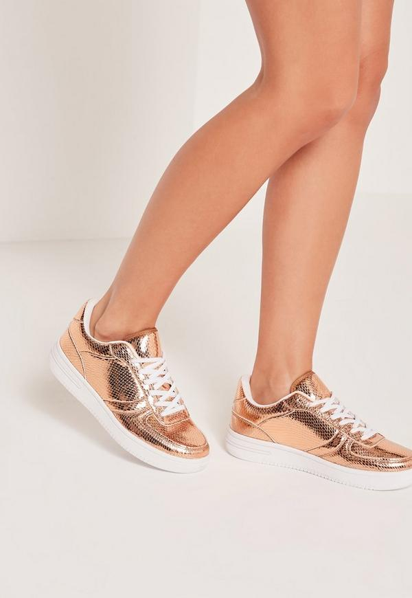 Metallic Lace Up Trainers Rose Gold