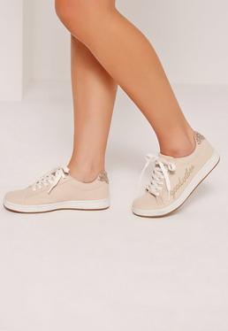 Good Vibes Embroidered Lace Up Trainers Nude